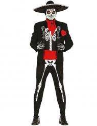 Meksikolaisen luurangon mustavalkoinen Dia de los muertos-naamaisasu miehelle