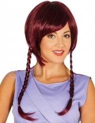 Violetti peruukki palmikoilla