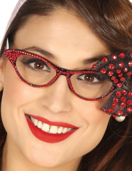 50- luvun punaiset silmälasit naiselle