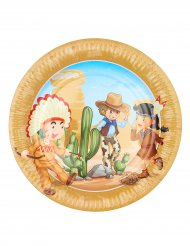 Cowboy ja intiaani- pahvilautaset 23 cm