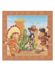 Cowboy ja intiaani- servetit 33 x 33 cm
