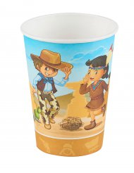 Cowboy ja intiaani- pahvimukit 25 cl 6 kpl