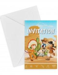 Cowboy ja intiaani- kutsukortit ja kirjekuoret 10 x 15 cm 6 kpl