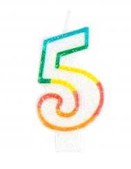 Kakkukynttilä numerolla 5