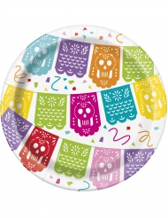 8 Meksikolainen Fiesta-pahvilautasta 18 cm