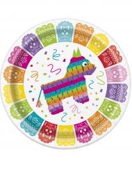 8 Meksikolainen Fiesta- pahvilautasta 23 cm