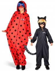 Miraculous™ Cat Noir ja Ladybug -naamiaisasusetti äidille ja pojalle