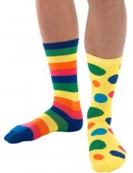 Klovnin moniväriset sukat aikuiselle