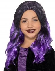Pitkä musta/violetti peruukki lapselle