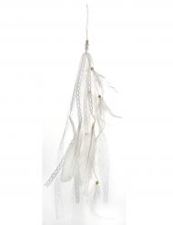 Valkoinen ripustettava höyhenkoriste 35 cm