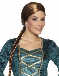 Ruskea keskiaikainen lettiperuukki naiselle