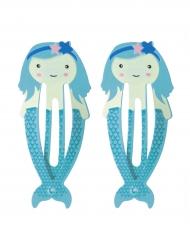 2 Sinistä merenneito hiusklipsiä 5,5 cm
