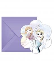 Frozen™ -kutsukortit ja violetit kirjekuoret 6 kpl