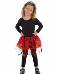 Punainen tyllihame mustilla hämähäkinseiteillä tytölle