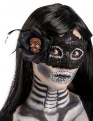 Musta muovinen Dia de los muertos- naamari naiselle
