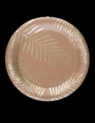 8 Kultainen palmu -pahvilautasta 23 cm
