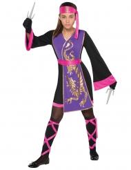 Vaaleanpuna/violetti ninjan naamiaisasu tytölle