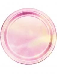 8 Pientä vaaleanpunaista kiiluvaa pahvilautasta 18 cm
