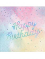 16 Happy Birthday-servettiä sateenkaaren väreissä 33 x 33 cm