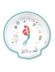 4 Simpukanmuotoista Ariel™ pahvilautasta 24 x 24 cm
