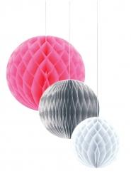Paperiset pallokoristeet 3 kpl vaaleanpunainen, hopea ja valkoinen 30/25/20 cm