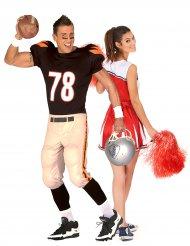 Cheerleader ja amerikkalainen jalkapallon pelaajan pariasu