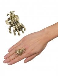 Metallinen kynnet ja pääkallo- sormus aikuiselle