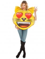Sydänsilmäinen kissa Emoji™ naamiaisasu aikuiselle