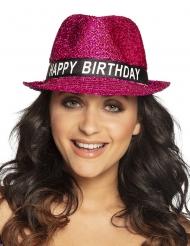 Paljettinen fuksia happy birthday hattu aikuiselle