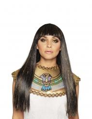 Pitkä musta/kulta Niilin kuningatar peruukki naiselle