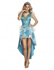 Lumoavan prinsessan sininen naamiaisasu naiselle