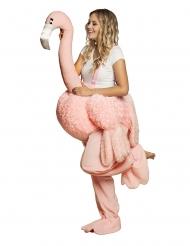 Naisen flamingon selässä- vaaleanpunainen asu naiselle