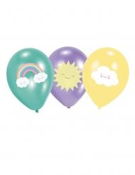 Pieni pilvi- ilmapallot minttu, violetti ja keltainen 27,5 cm 6 kpl