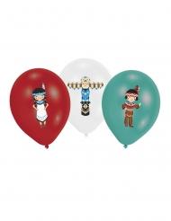 Intiaani-ilmapallot punainen, valkoinen ja minttu 27,5 cm 6 kpl