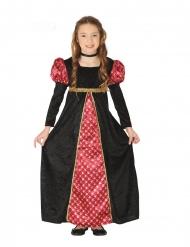 Keskiaikaisen rouvan mustapunainen naamiaisasu tytölle