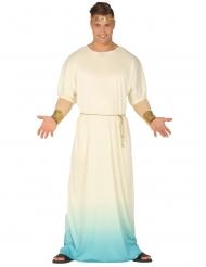 Kreikkalaisen jumalan sinivalkoinen naamiaisasu miehelle