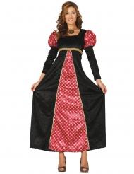 Keskiaikainen mustapunainen naamiaisasu naiselle