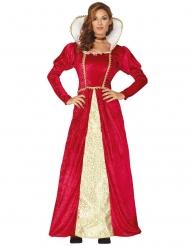 Keskiaikaisen kuningattaren punakultainen naamiaisasu naiselle
