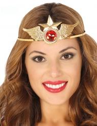 Metallinen hiuspanta punaisella tekojalokivellä naiselle