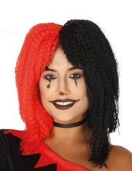 Harlekiinin mustapunainen kreppiperuukki naiselle