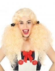 Blondi kiharainen peruukki saparoilla naiselle