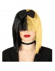 Blondi/musta pop-laulajan peruukki aikuiselle
