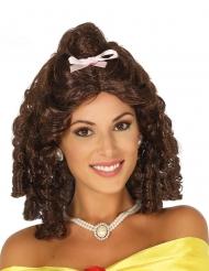 Ruskea korkkiruuvikiharainen prinsessan peruukki naiselle