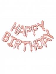 Happy Birthday -vaaleanpunaiset ilmapallot 305x35 cm