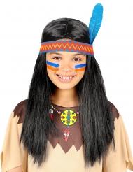 Intiaaniperuukki hiuspannalla ja sulalla lapselle