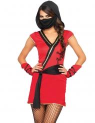 Mystisen ninjan punainen naamiaisasu naiselle