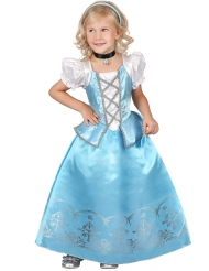 Sinivalkoinen prinsessan naamiaisasu tytölle