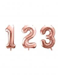 Ruusukullanvärinen numeroilmapallo 86 cm