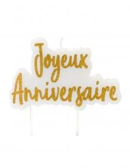 Kultainen Joyeux Anniversaire -kynttilä 8x5 cm
