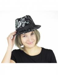 Mustat ja hopeiset käännettävät paljetit borsalino-hattu aikuiselle